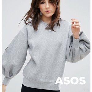 ASOS Gray Ballon Sleeve Sweatshirt